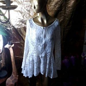 Blush Long Sleeve Lace Blouse